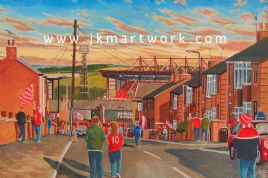 Hand Painted original of oakwell going the match